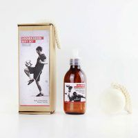 Football gift set including shower gel and soap on a rope